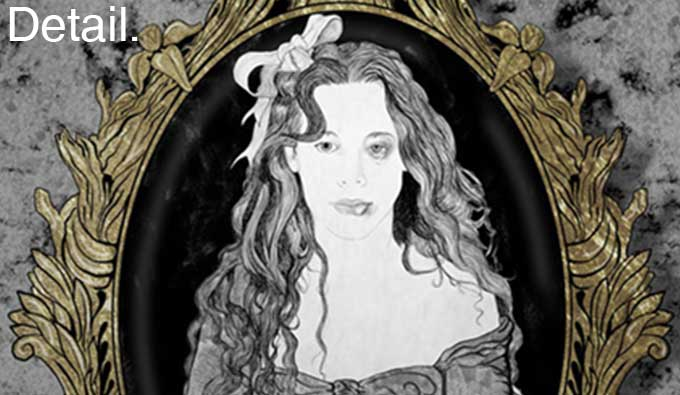 The black and white illustration shows a young woman with long wavy hair, she has a bow in her hair, she has a black eye and a bruised lip. She is framed by a gilt oval frame.