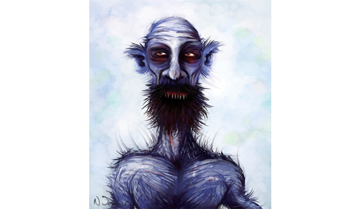 Illustration of a mythical man by Neil Webber.  The Blue Man has a bushy beard, pointy teeth can bee seen in the gap, the man is bald and barechested.