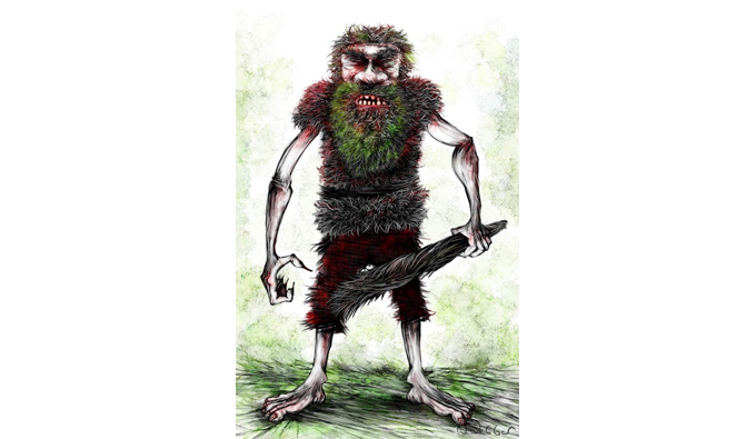 Illustration of a mythical man by Neil Webber.  This man has large feet, tartan like knee length shorts and he is clutching a wooden club with his taloned hands.  He ia wearing a vest that could be made from twigs, his beard has moss growing in it, his teeth like tombstones.  He does not look happy.