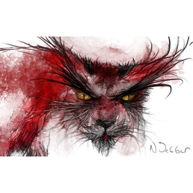Illustration of a mythical creature by Neil Webber.  The creature is like a fox or cat, rusty coloured with a grey muzzle.