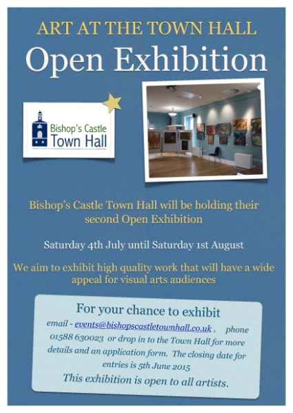 Bishops Castle Town Hall host their Open Exhibition.