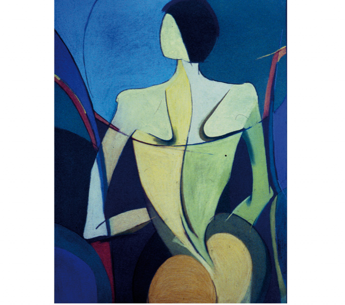 An abstract pastel artwork of the back of a female figure. The figure is formed of black lines and blocks of yellow, green and blue colour against a dark blue background.