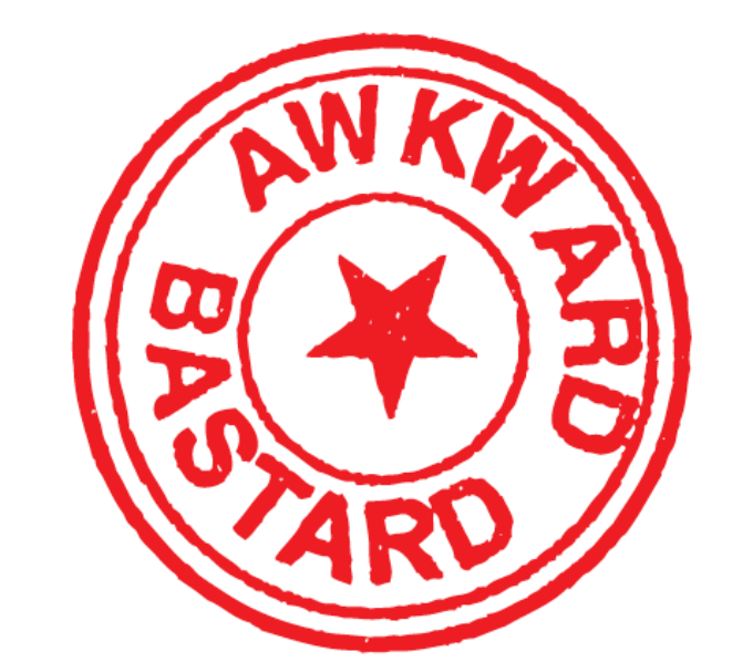 3 bright red concentric circles, with a bright red star in the centre, between the second and third circles runs the words in capital red letter, Awkward Bastard.s