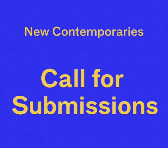 A royal blue background with New Contemporaries Call for Submissions in bright yellow text.