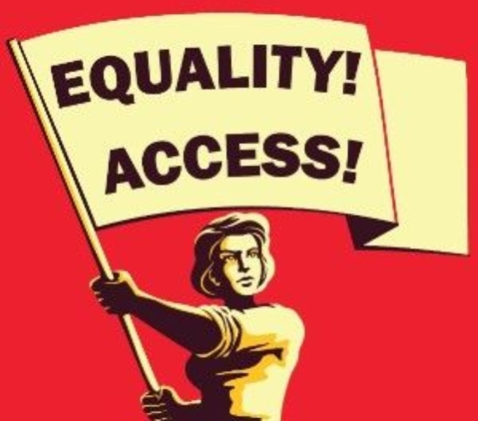 Woman holding a flag with the words Equality and Access emblazoned on it. Against a red background.