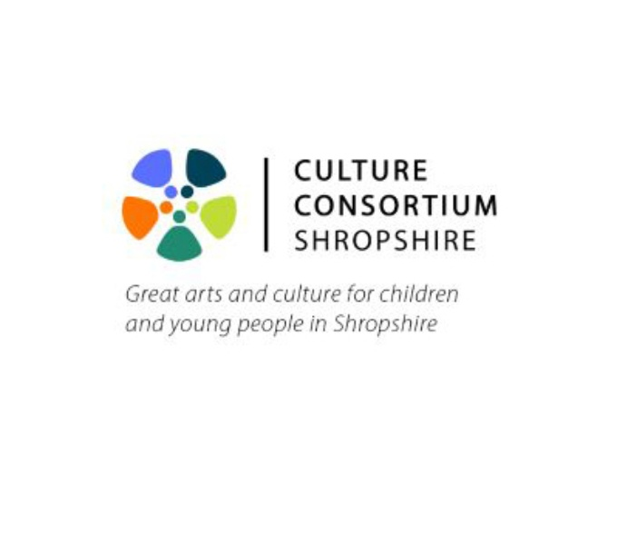 Circular shaped logo made up of blue, green and orange triangle wedges. To the right in black text is written; Culture Consortium Shropshire