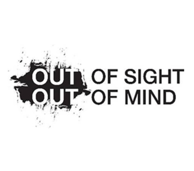 Exhibition title, Out of Sight, Out of Mind is written across two lines. The words 'Out'  are emphasised by being placed within a large black paint splash in white writing. The remaining text is black on a white background.