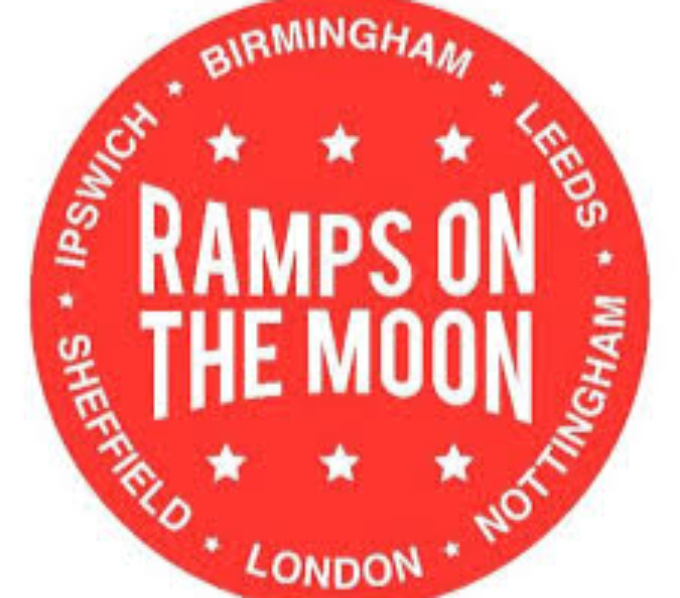 a bright red circle with white capitals letters across the centre, 'Ramps on the Moon, three white stars above and below, around the edge of the circle in white from the top clockwise are 'Birmingham, Leeds, Nottingham, London, Sheffield , Ipswich.