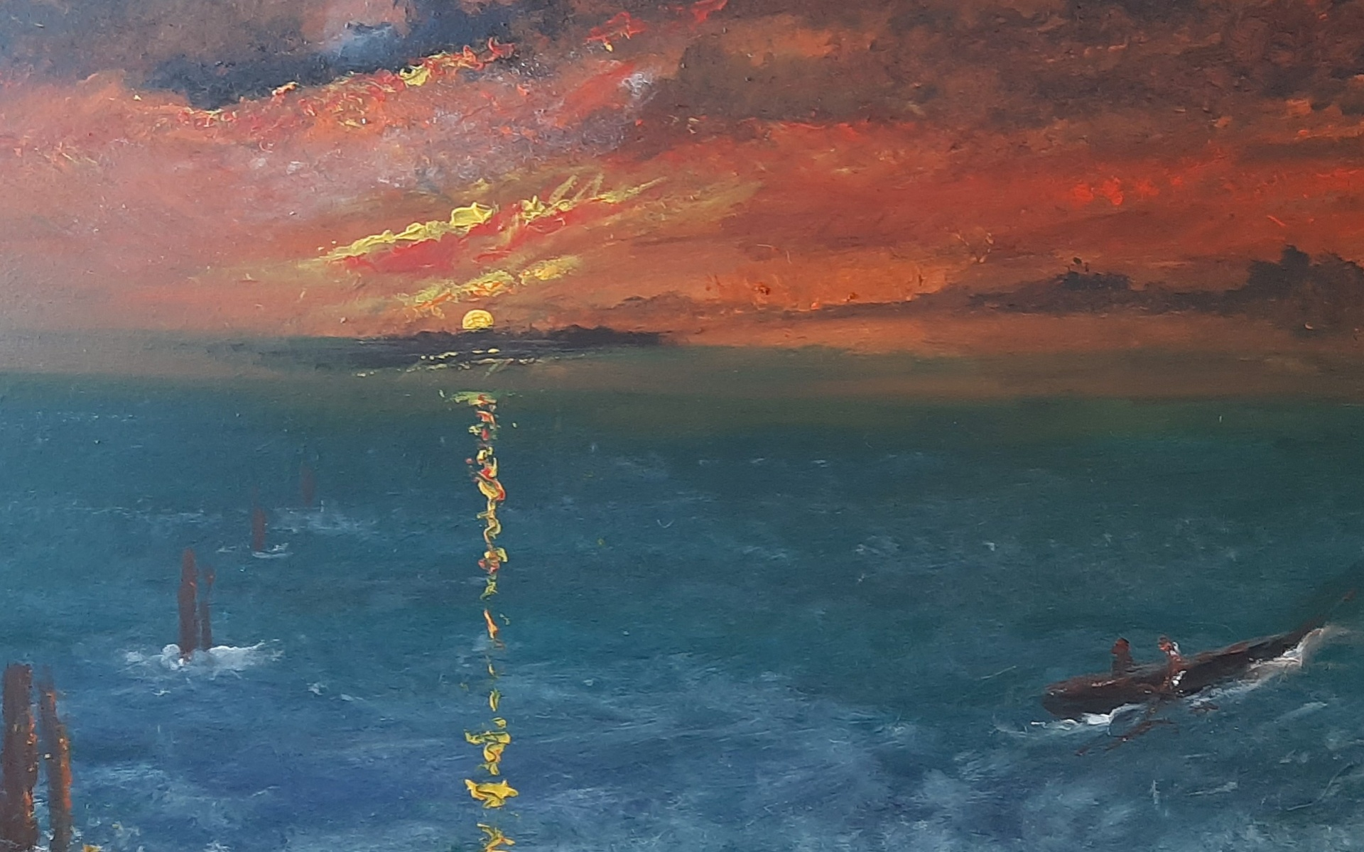 A seascape depicting dark seas and an ominous orange sky. A boat sits to the right of the image and the passengers appear to be headed for shore. The sun cuts through the cloud. A single bright ray hits the choppy waters.