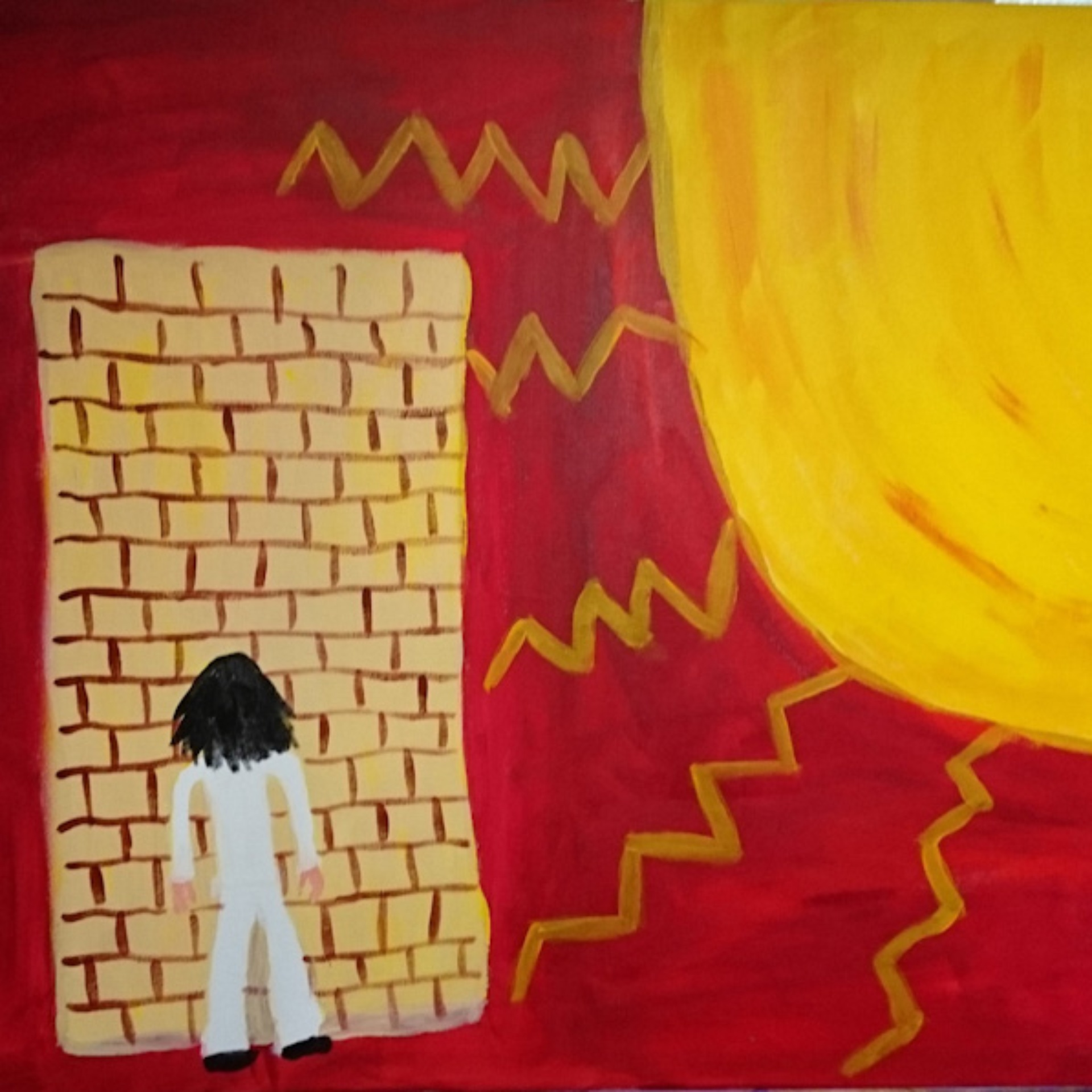 A pillar box red painted background. To the right a large bright yellow sun, jagged rays like lightening stretch across the canvas. To the left a block brick wall. A figure wearing white, with long black hair stands facing the wall, back to the viewer.