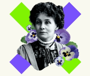 Black and White Photograph of Emmeline Pankhurst, she is surrounded by violets and there are purple and green stripes behind them.