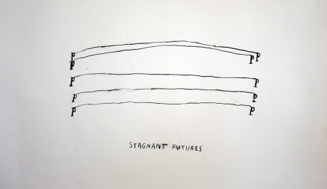 on a white piece of paper, half way up the page in the centre, are three black ink straight, hand drawn lines begining and ending in the letter p, above that are two more lines with more of a slight arch to them, at the bottom is  'STAGNANT FUTURES'