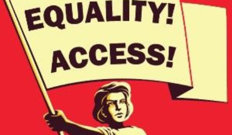 A red background with illustration of a woman waving a banner with the word Equality and Access Emblazoned on it.