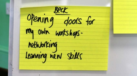 A Post it note - with the words 'Opening doors for my own workshops - networking, learning new skills.