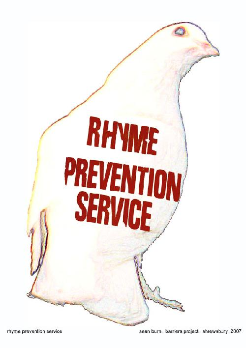 An image of a pigeon has been digitally manipulated.  The pigeon is white with a darker outline around the body and eye.  The words 'Rhyme Prevention Service' have been added to the breast of the pigeon in red capital letters.  Image copyright Sean Burn