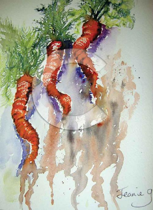 Watercolour painting of three carrots, which are twisted and curled.