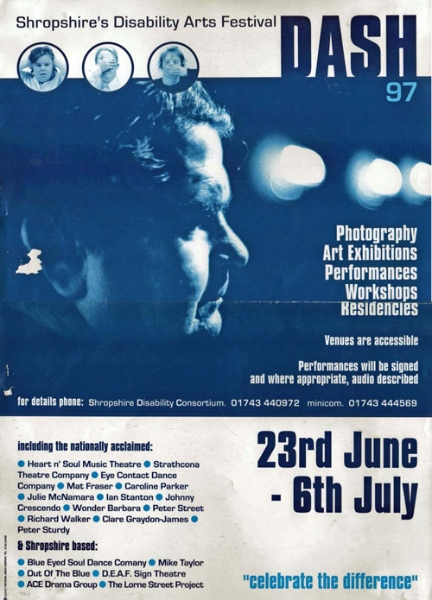 Poster for the Disability Arts Festival in Shropshire 1997