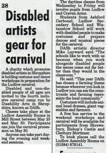 Disabled artists were preparing to participate in Ludlow Carnival