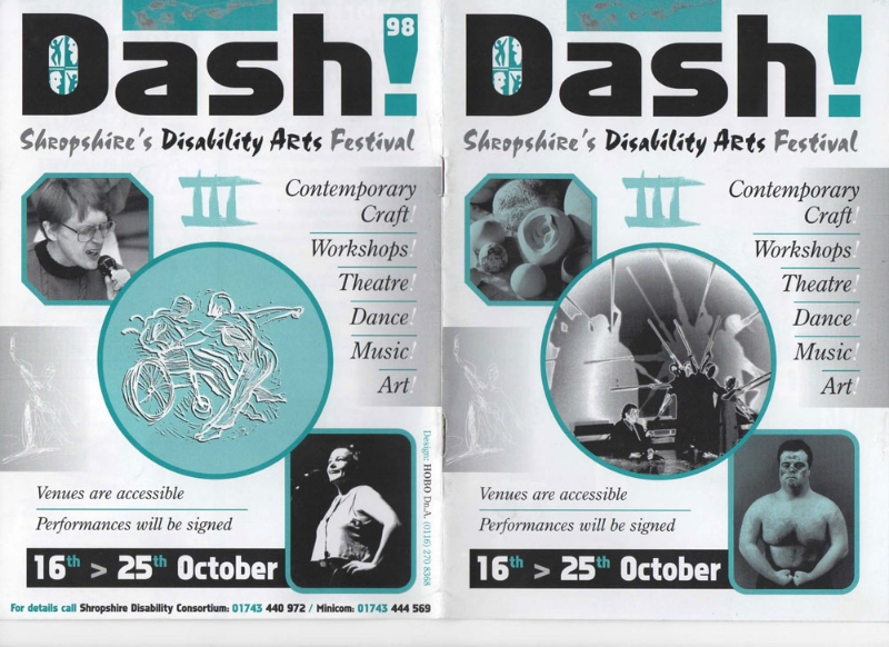 Promotional programme for Disability Arts Festival in Shropshire 1998