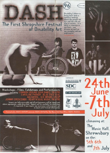 Poster for disability arts festival in Shropshire 1996