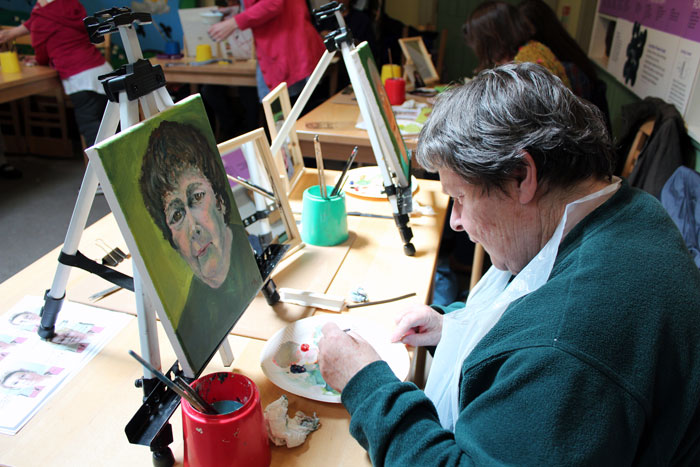 Canvas being produced at portrait painting workshop