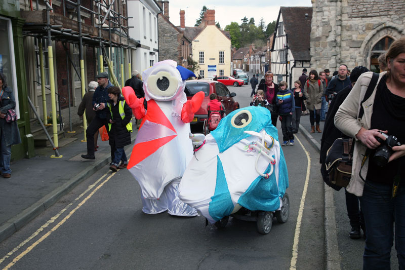 Official Olympic mascots in Much Wenlock with DASH
