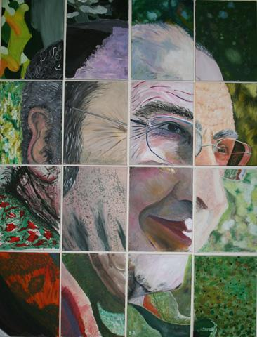 The picture shows a portrait of Mike Layward, Artistic Director of DASH.  The image is made up of 16 separate canvases, painted in Acrylic paints by participants of the visual arts workshops.  copyright DASH 2010