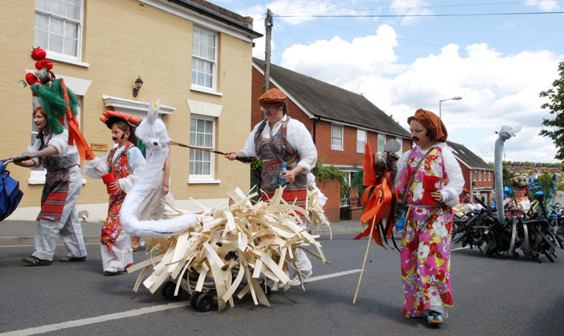 Performers in fancy dress at the Carnival in Shropshire