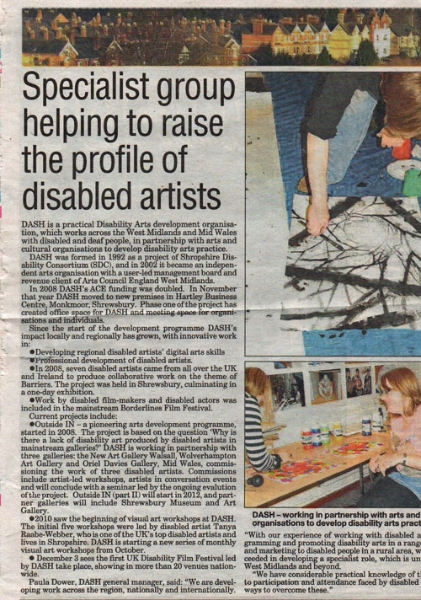 Specialist group DASh - helping to raise the profile of disabled artists and visual arts nationally
