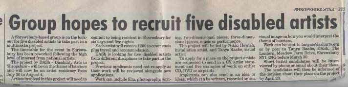 Disability Arts in Shropshire was recruiting five disabled artists in 2007.