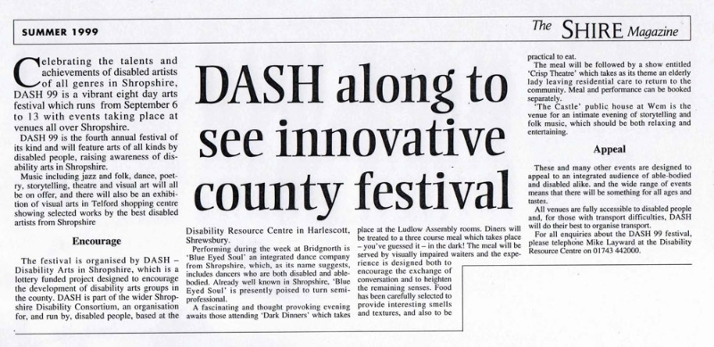 Promotional press release providing coverage of the Disability Arts Festival in 1999