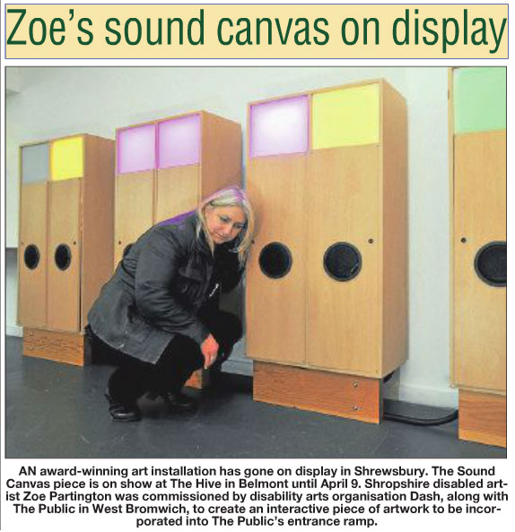 Sound Canvas installation at the Hive in Shrewsbury