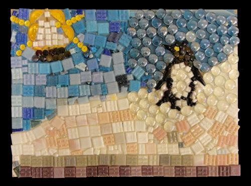 Mosaic Workshop 13th December 2011.  Image shows Ann Patterson's mosaic of a landscape with a penguin. Glass beads, button and tiles have been used. Copyrigh Ann Patterson.