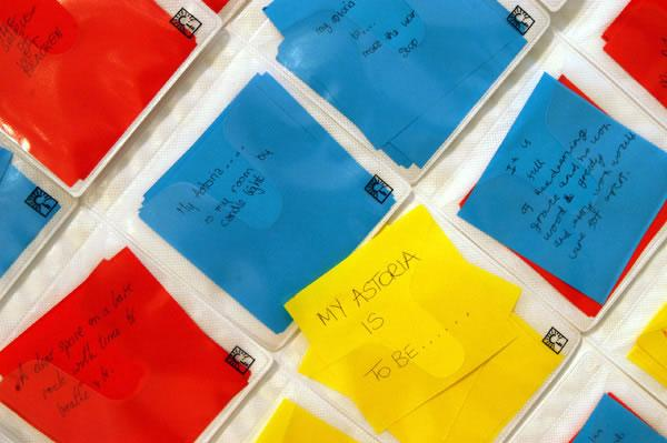 red, yellow and blue square notes with personal views of My Astoria, image by Anthea Bevan