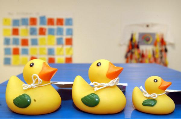 three yellow rubber ducks with travel tags attached to their necks, sitting on blue table, photo by Anthea Bevan