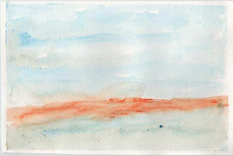 Watercolour painting. An orange band disects the background which is a blue wash.