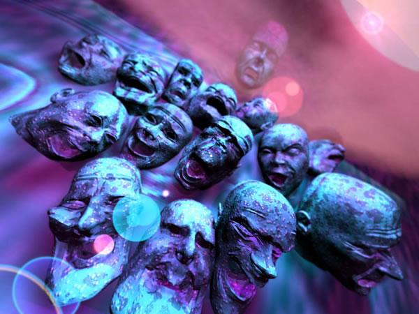 Fifteen face sculptures, many with open mouths, the image is predominantly, blue, purple and pink. Image by David
