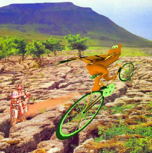 Dragon by David King and Jean Green.  Artistic illustration using digital mix media techniques. A landscape image.  The foreground is a craggy, trees are on the left, the ground recedes into a blue mountain.  On the rocky foreground is a person riding a motorbike racing towards an orange dragon riding a green bicycle.