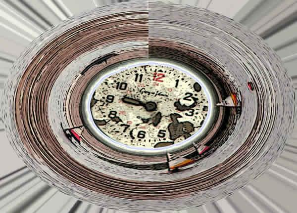 Clock by Steve Townsend. A digitally manipulated photographic image. A clock face in the centre which has a weathered look. Surrounding the clock is a spherically stretched photgraph of yachts sailing on water.