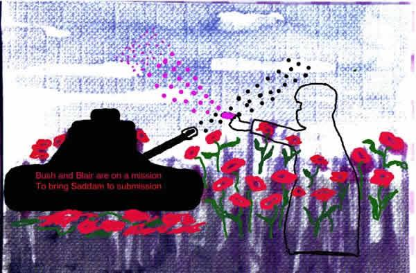 Bush and Blair by Jean Green.  Artistic illustration using digital mix media techniques.  A tank sits in a blue field with red poppies.  The tank is shooting at a line drawn figure, the figure shoots back at the tank with pink bullets. The text on the tank reads; Bush and Blair are on a mission, to bring Saddam to submission.
