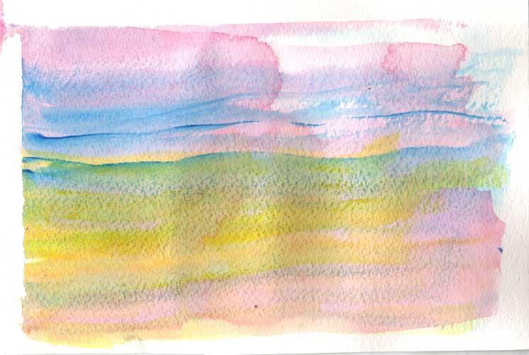 Watercolour painting.  Horizontal washes of colour start at the top with pink, then blue, then yellow, finishing with pink at the bottom.