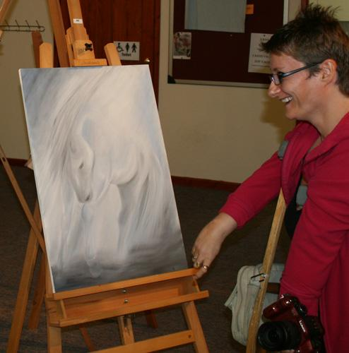 Painting by Paula Dower - with Tanya laughing at Mike (out of shot)