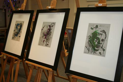 Three multimedia artworks by Jordan Pearman, using oil pastel and marker pen on paper.