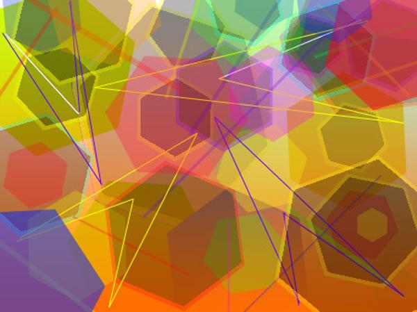 The image shows numerous multicoloured hexagonal and arrow shapes.  The images overlap, in the ovelap a new colour or shade is formed. Image by Jayni