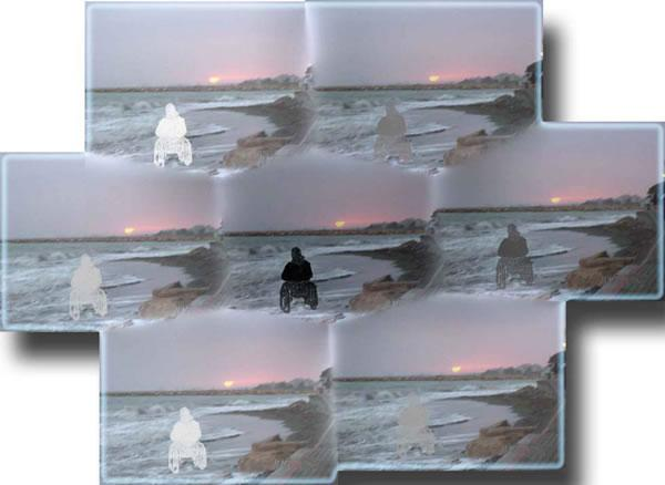 A central image of a beach scene at sunset, with a person in a wheelcahir at the waters edge, is surrounded by six copies.  In the copies the person and the wheelchair are in varying shades of grey.  Image by Jayni