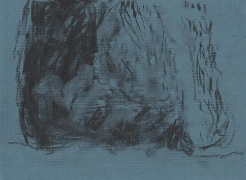 Charcoal drawing.  Abstract image, dark on the left hand side with heavy use of charcoal, on the left strokes flow upwards with paper shwing beneath.