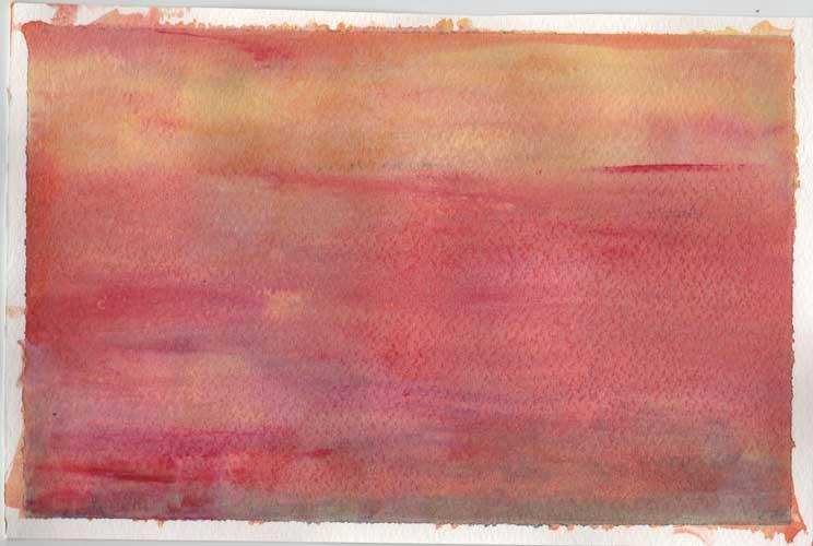 Watercolour painting.  Orange, red, pink and purple appear in this wash of colour.