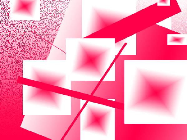White, pink and red; rectangles, squares and diamond shapes overlapping on a pink and white speckled background.  Image by Joy