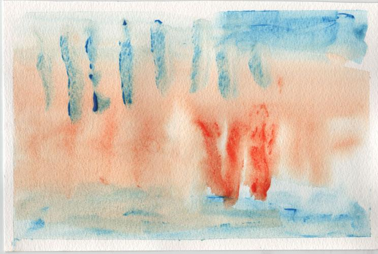 Watercolour painting. Blue washes are at the top and bottom, in the middle is a wash of orange.  on top of the orange wash are eight short vertical stripes and three orange stripes.