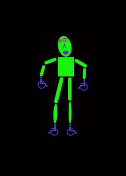 A bright green robot figure, with small blue wheelchair symbols as hands and feet.  Image by Lynne.